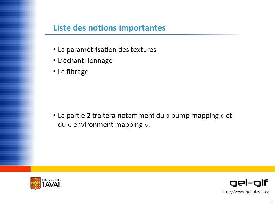 http://www.gel.ulaval.ca Liste des notions importantes La paramétrisation des textures Léchantillonnage Le filtrage La partie 2 traitera notamment du