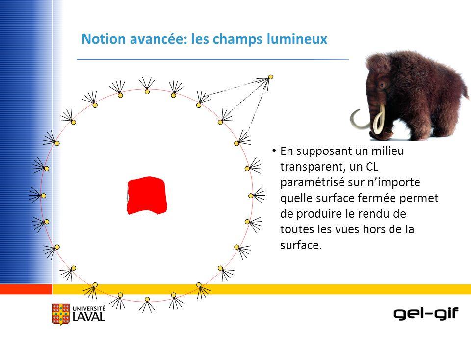 Notion avancée: les champs lumineux En supposant un milieu transparent, un CL paramétrisé sur nimporte quelle surface fermée permet de produire le ren