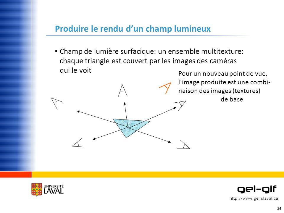 http://www.gel.ulaval.ca Produire le rendu dun champ lumineux Champ de lumière surfacique: un ensemble multitexture: chaque triangle est couvert par l