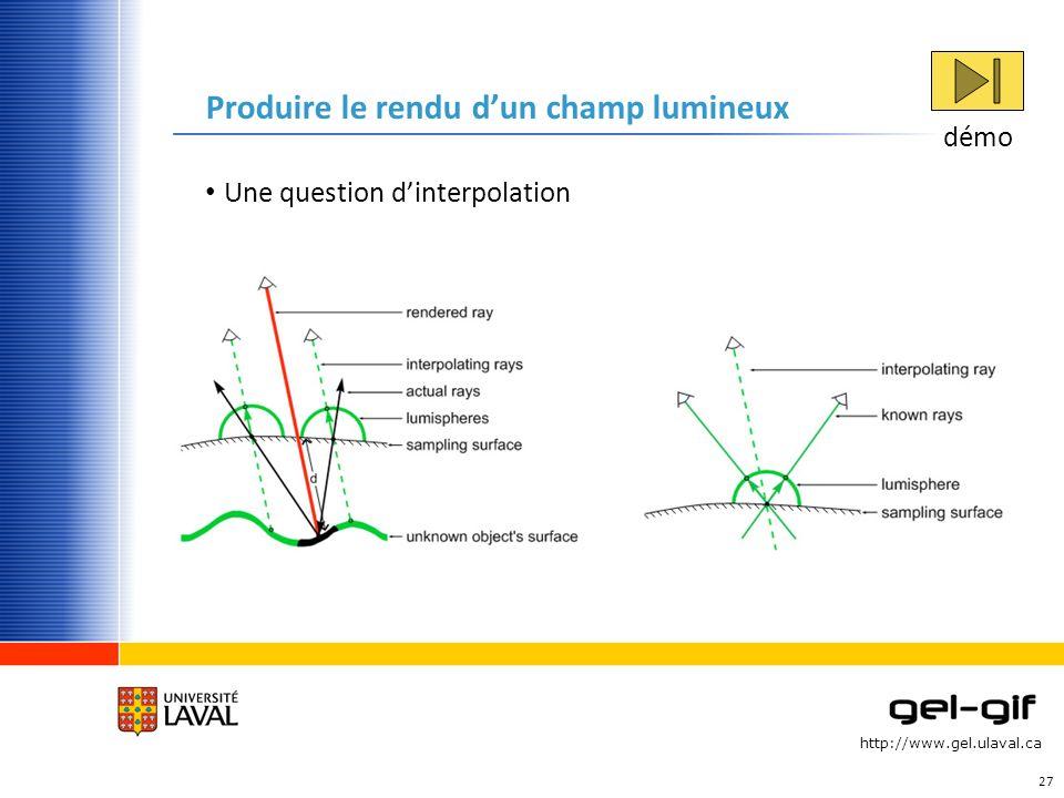 http://www.gel.ulaval.ca Produire le rendu dun champ lumineux Une question dinterpolation 27 démo