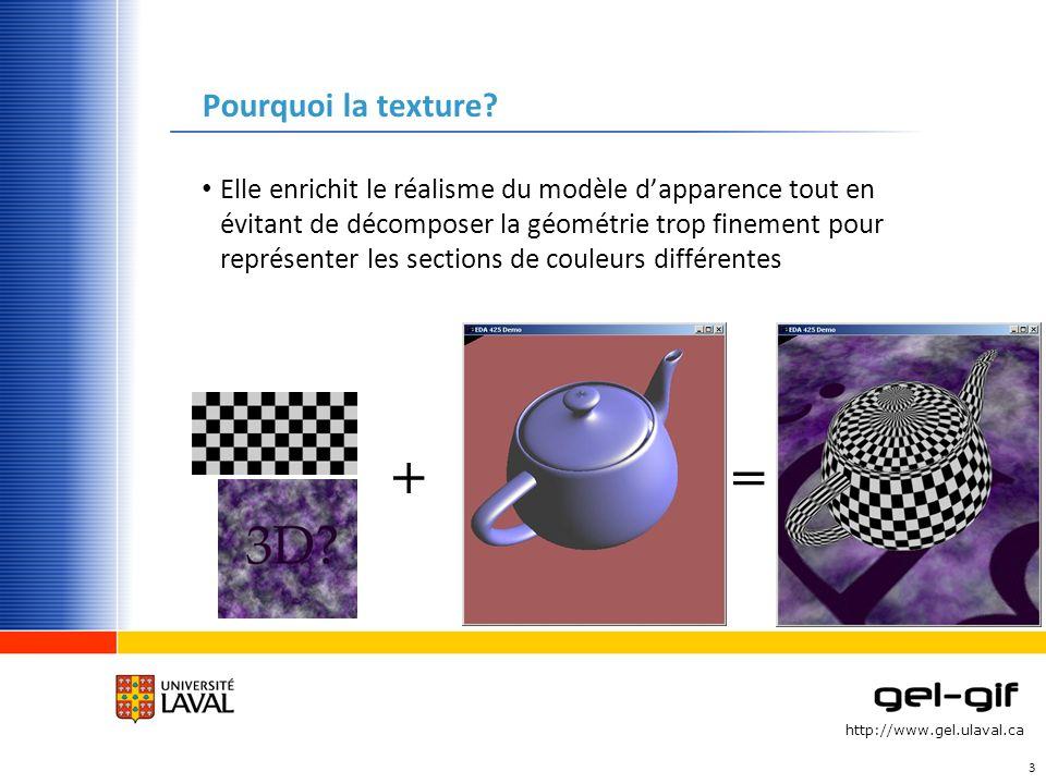 http://www.gel.ulaval.ca Pourquoi la texture? Elle enrichit le réalisme du modèle dapparence tout en évitant de décomposer la géométrie trop finement