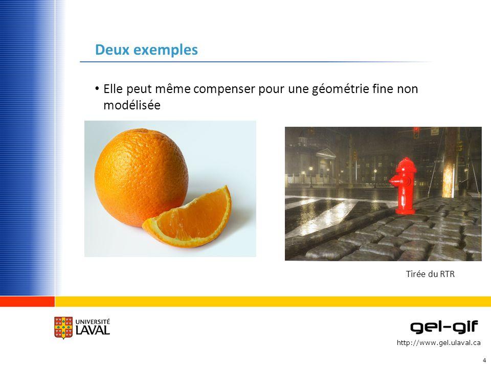 http://www.gel.ulaval.ca Deux exemples Elle peut même compenser pour une géométrie fine non modélisée 4 Tirée du RTR