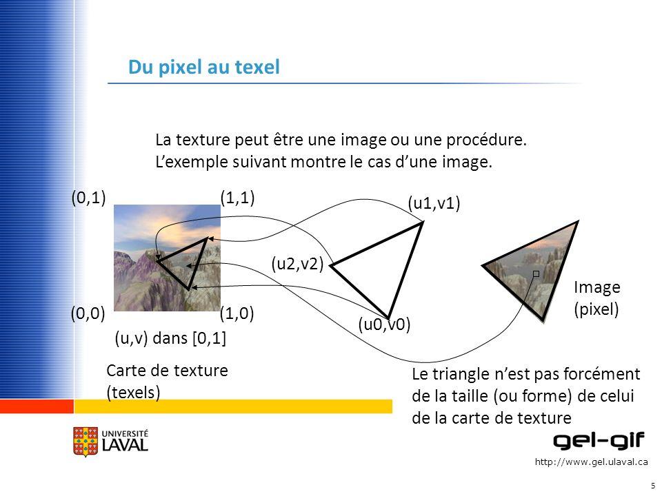 http://www.gel.ulaval.ca Du pixel au texel 5 (0,0)(1,0) (1,1)(0,1) (u,v) dans [0,1] (u0,v0) (u1,v1) (u2,v2) Carte de texture (texels) La texture peut