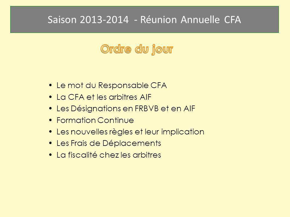 Saison 2013-2014 - Réunion Annuelle CFA Le mot du Responsable CFA La CFA et les arbitres AIF Les Désignations en FRBVB et en AIF Formation Continue Le