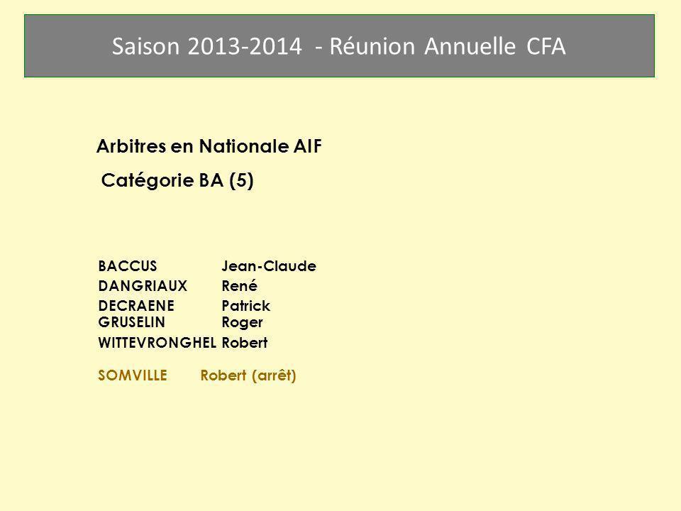 Saison 2013-2014 - Réunion Annuelle CFA Arbitres en Nationale AIF Catégorie BA (5) BACCUS Jean-Claude DANGRIAUX René DECRAENE Patrick GRUSELIN Roger W