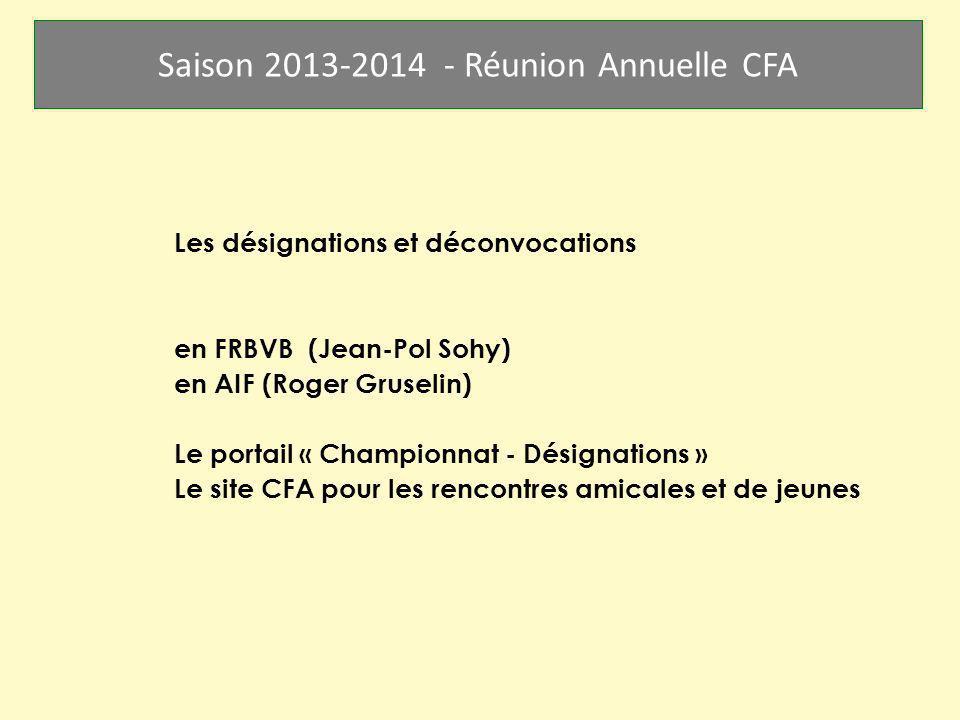 Saison 2013-2014 - Réunion Annuelle CFA Les désignations et déconvocations en FRBVB (Jean-Pol Sohy) en AIF (Roger Gruselin) Le portail « Championnat -