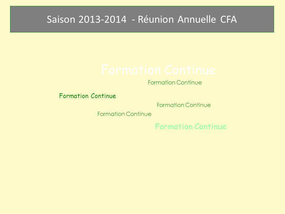 Saison 2013-2014 - Réunion Annuelle CFA Formation Continue