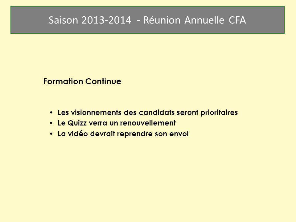 Saison 2013-2014 - Réunion Annuelle CFA Formation Continue Les visionnements des candidats seront prioritaires Le Quizz verra un renouvellement La vid