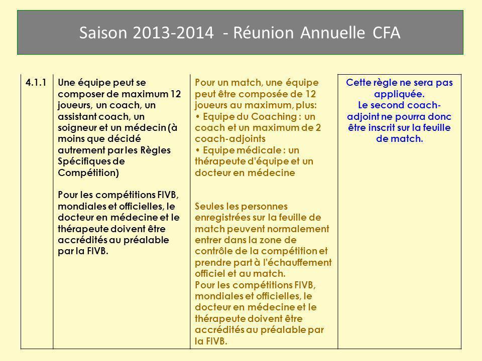 Saison 2013-2014 - Réunion Annuelle CFA 4.1.1Une équipe peut se composer de maximum 12 joueurs, un coach, un assistant coach, un soigneur et un médeci