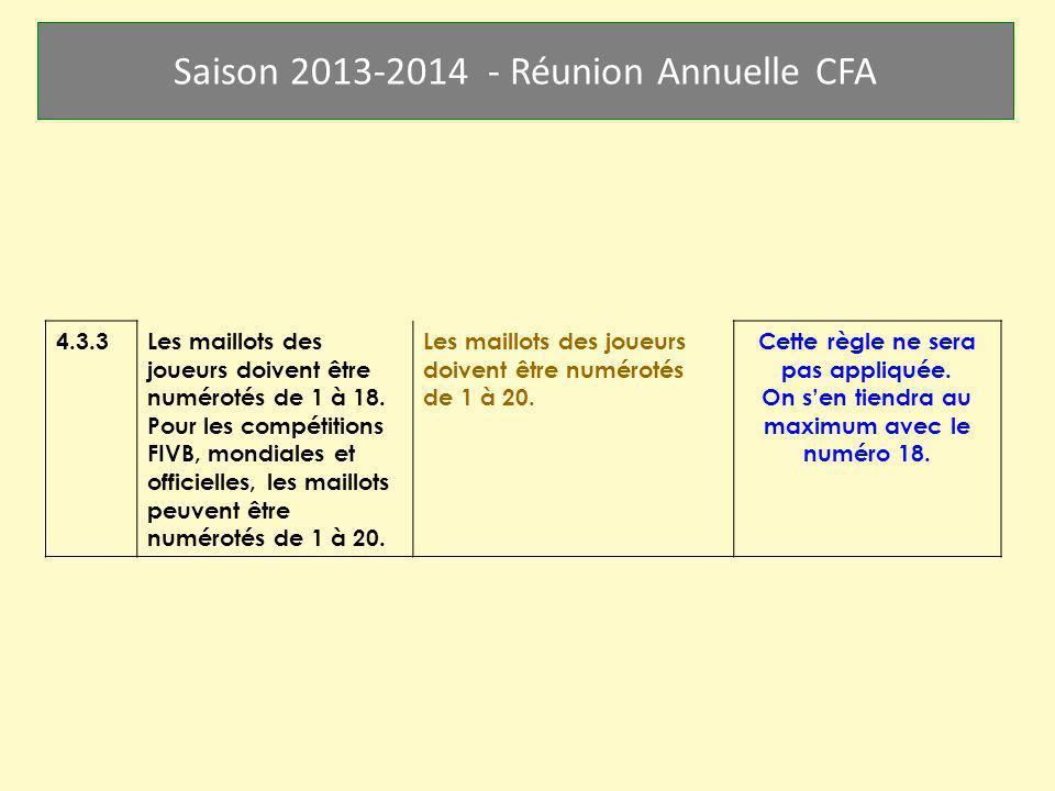 Saison 2013-2014 - Réunion Annuelle CFA 4.3.3Les maillots des joueurs doivent être numérotés de 1 à 18. Pour les compétitions FIVB, mondiales et offic