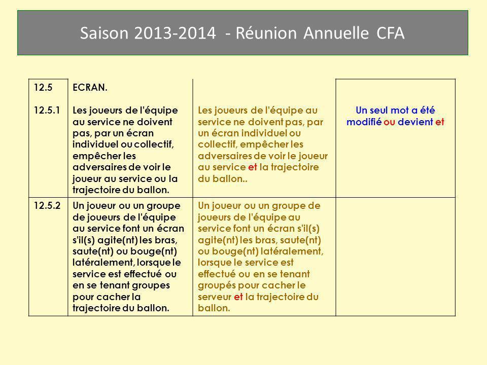 Saison 2013-2014 - Réunion Annuelle CFA 12.5 12.5.1 ECRAN. Les joueurs de l'équipe au service ne doivent pas, par un écran individuel ou collectif, em