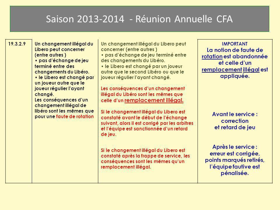 Saison 2013-2014 - Réunion Annuelle CFA 19.3.2.9Un changement illégal du Libero peut concerner (entre autres ) pas d'échange de jeu terminé entre des