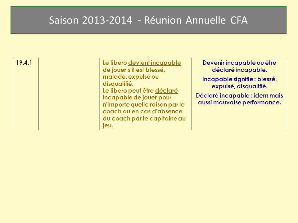 Saison 2013-2014 - Réunion Annuelle CFA 19.4.1 Le libero devient incapable de jouer s'il est blessé, malade, expulsé ou disqualifié. Le libero peut êt