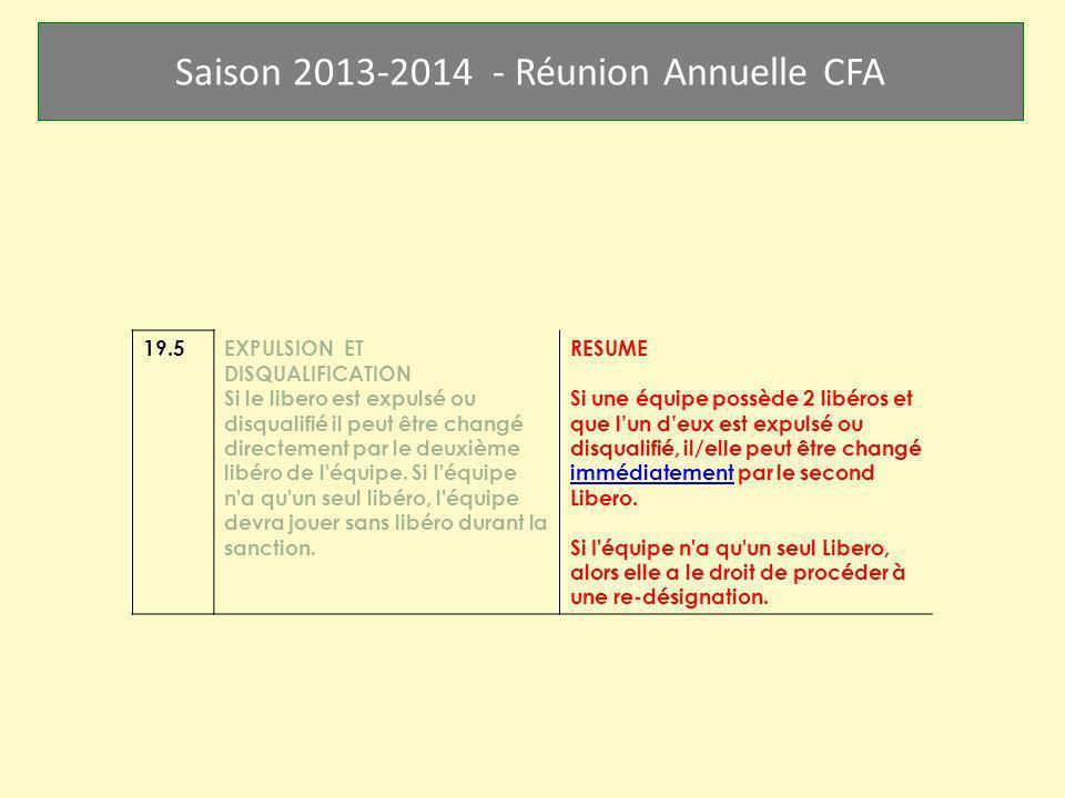 Saison 2013-2014 - Réunion Annuelle CFA 19.5EXPULSION ET DISQUALIFICATION Si le libero est expulsé ou disqualifié il peut être changé directement par