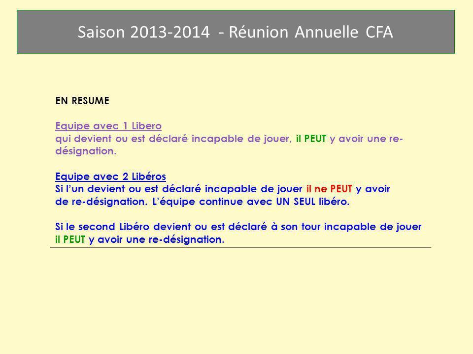 Saison 2013-2014 - Réunion Annuelle CFA EN RESUME Equipe avec 1 Libero qui devient ou est déclaré incapable de jouer, il PEUT y avoir une re- désignat