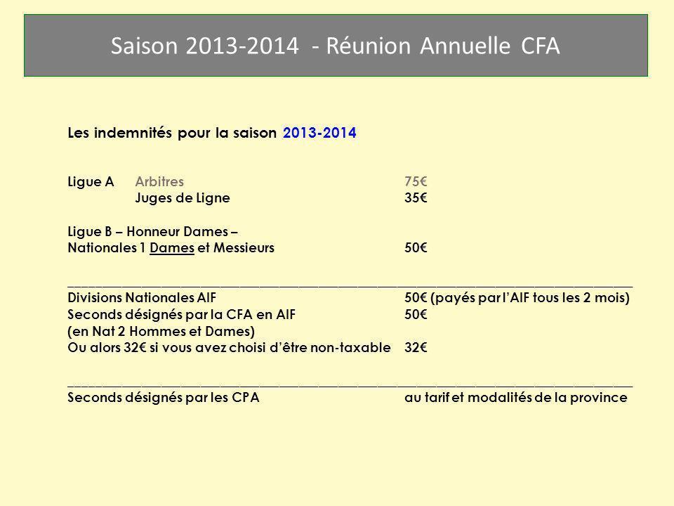 Saison 2013-2014 - Réunion Annuelle CFA Les indemnités pour la saison 2013-2014 Ligue AArbitres 75 Juges de Ligne35 Ligue B – Honneur Dames – National