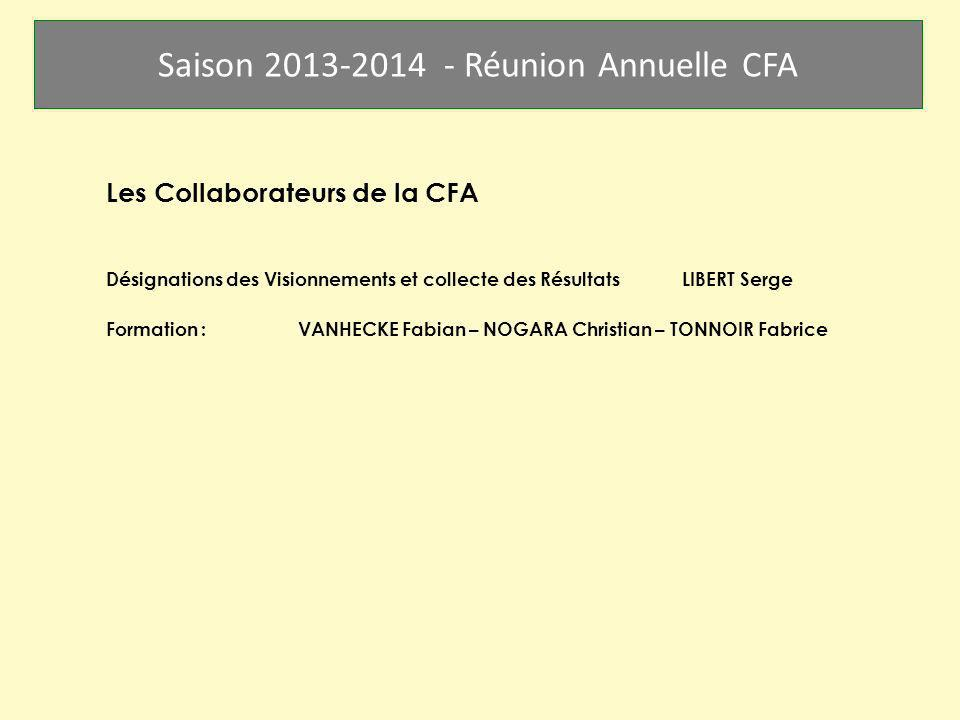 Saison 2013-2014 - Réunion Annuelle CFA Les Collaborateurs de la CFA Désignations des Visionnements et collecte des RésultatsLIBERT Serge Formation :