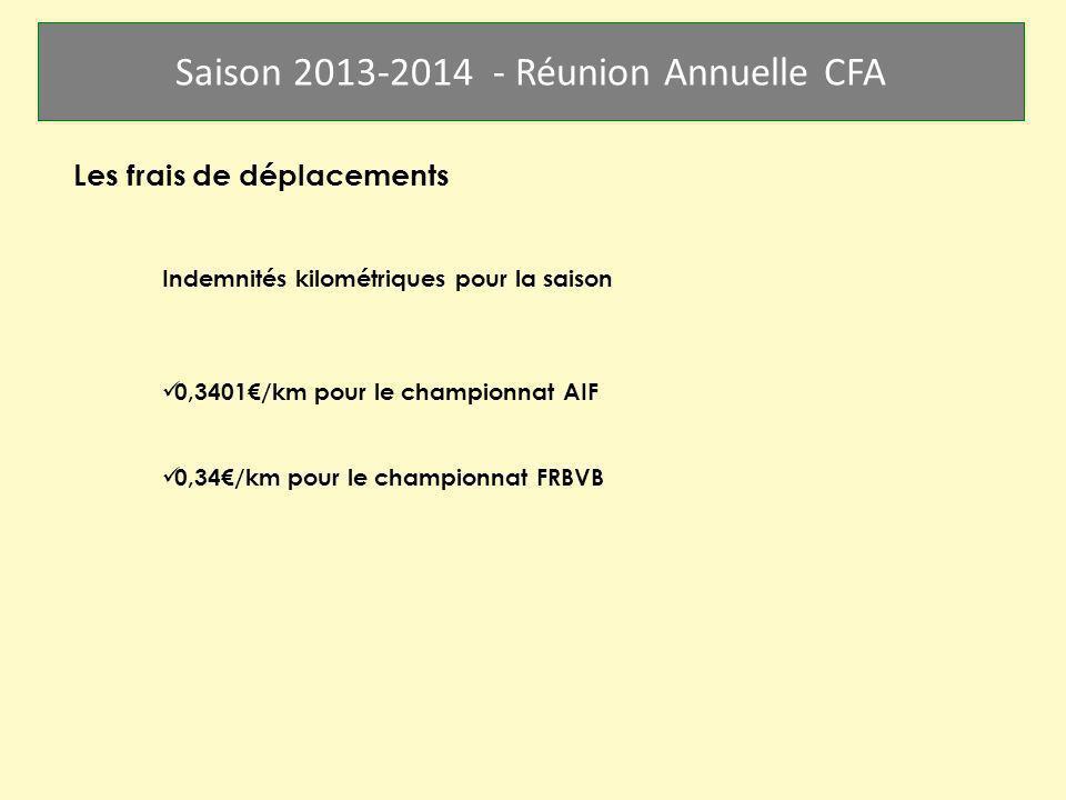 Saison 2013-2014 - Réunion Annuelle CFA Les frais de déplacements Indemnités kilométriques pour la saison 0,3401/km pour le championnat AIF 0,34/km po