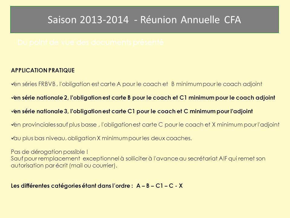 Saison 2013-2014 - Réunion Annuelle CFA Du point de vue des documents présenté APPLICATION PRATIQUE en séries FRBVB, l'obligation est carte A pour le