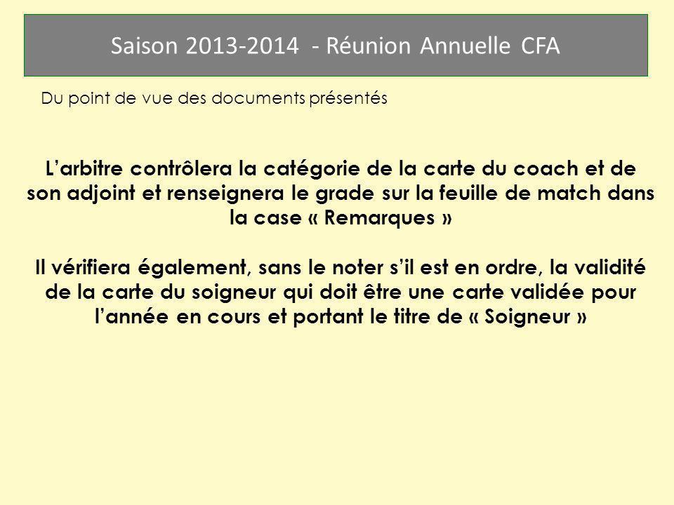 Saison 2013-2014 - Réunion Annuelle CFA Du point de vue des documents présentés Larbitre contrôlera la catégorie de la carte du coach et de son adjoin