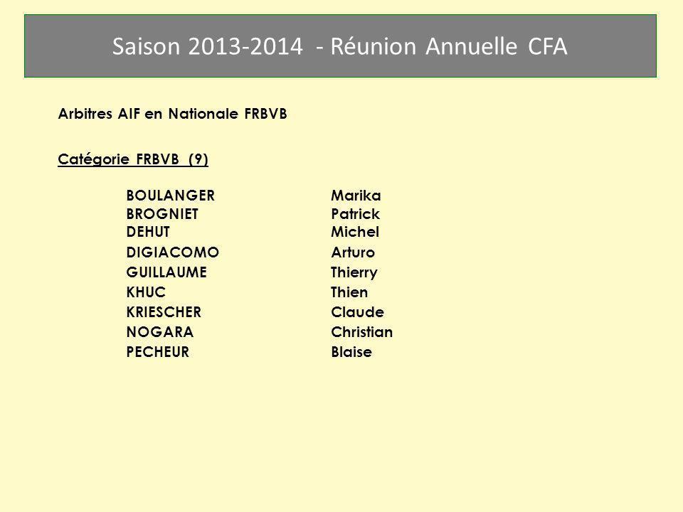 Saison 2013-2014 - Réunion Annuelle CFA Arbitres AIF en Nationale FRBVB Catégorie FRBVB (9) BOULANGERMarika BROGNIETPatrick DEHUTMichel DIGIACOMO Artu