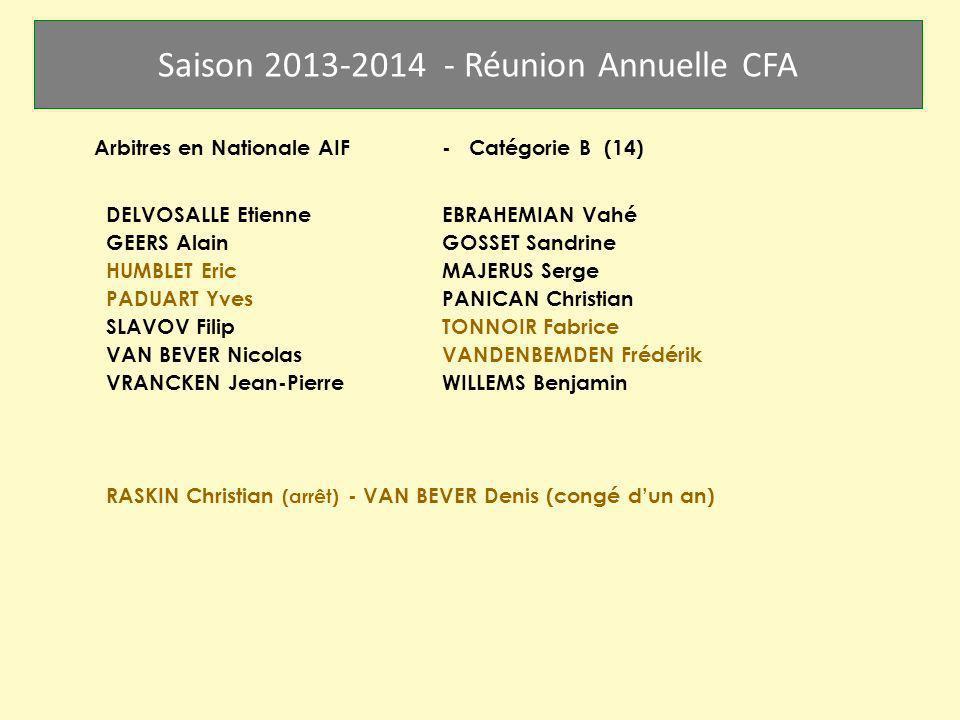 Saison 2013-2014 - Réunion Annuelle CFA Arbitres en Nationale AIF- Catégorie B (14) DELVOSALLE EtienneEBRAHEMIAN Vahé GEERS AlainGOSSET Sandrine HUMBL
