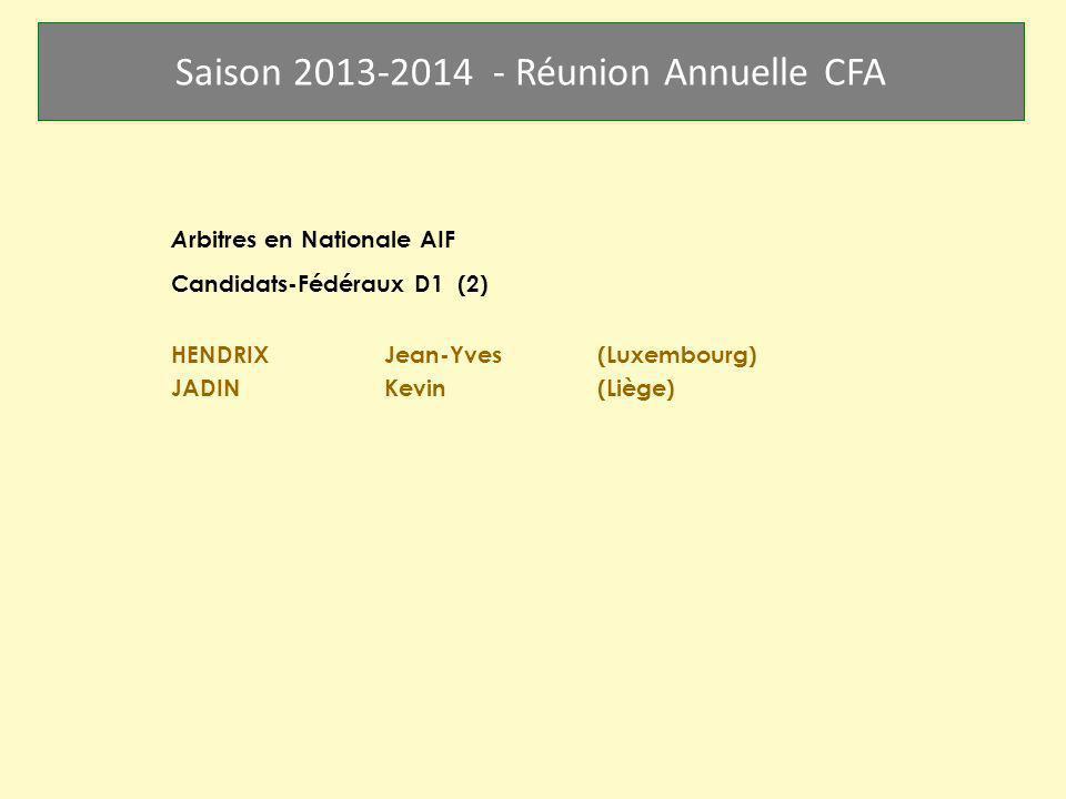 Saison 2013-2014 - Réunion Annuelle CFA Arbitres en Nationale AIF Catégorie BA (5) BACCUS Jean-Claude DANGRIAUX René DECRAENE Patrick GRUSELIN Roger WITTEVRONGHEL Robert SOMVILLE Robert (arrêt)