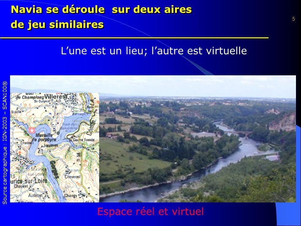 Espace réel et virtuel 5 Source cartographique : IGN-2003 – SCAN100® Lune est un lieu; lautre est virtuelle Navia se déroule sur deux aires de jeu similaires