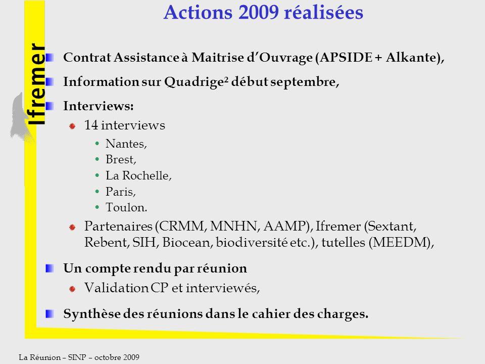 La Réunion – SINP – octobre 2009 Actions 2009 réalisées Contrat Assistance à Maitrise dOuvrage (APSIDE + Alkante), Information sur Quadrige² début sep