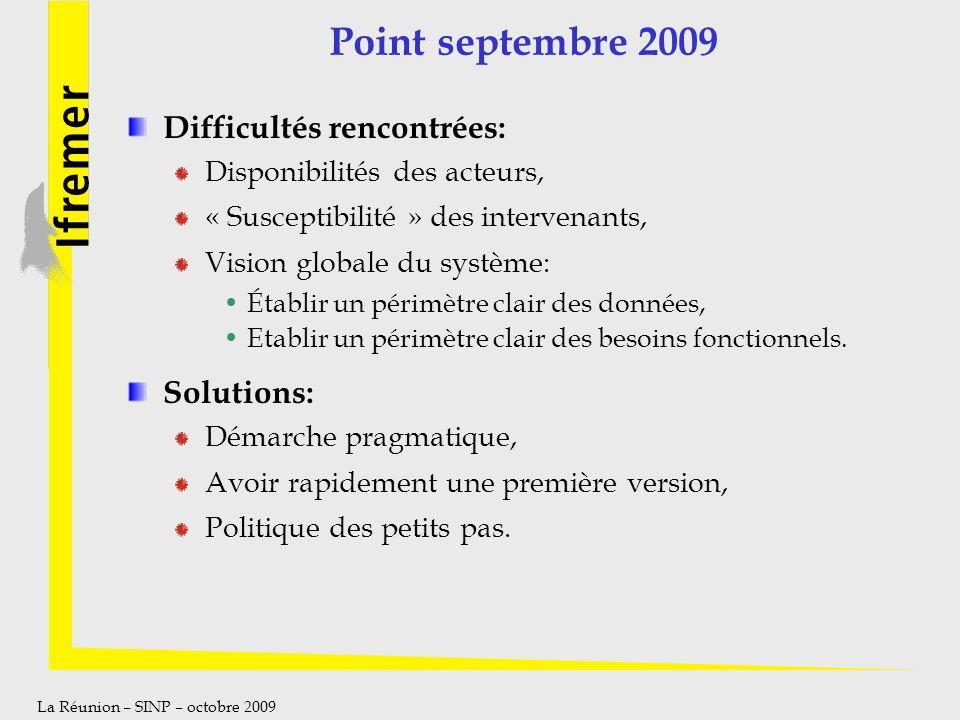 La Réunion – SINP – octobre 2009 Point septembre 2009 Difficultés rencontrées: Disponibilités des acteurs, « Susceptibilité » des intervenants, Vision