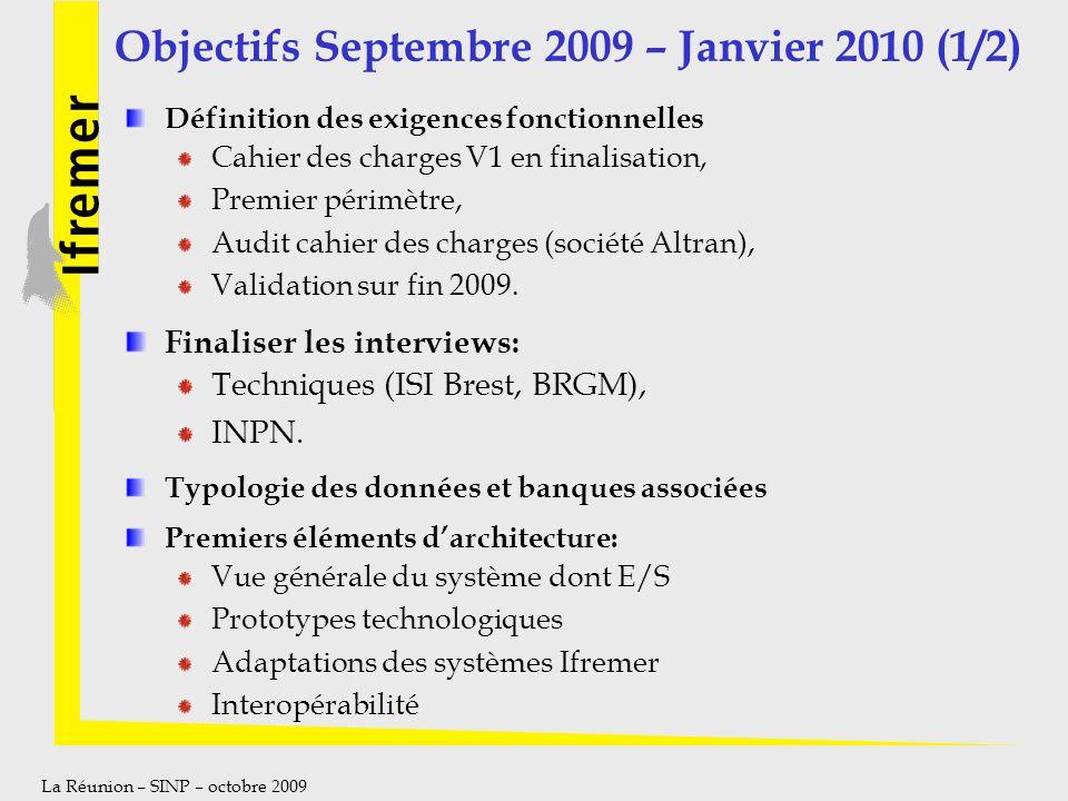 La Réunion – SINP – octobre 2009 Objectifs Septembre 2009 – Janvier 2010 (1/2) Définition des exigences fonctionnelles Cahier des charges V1 en finali