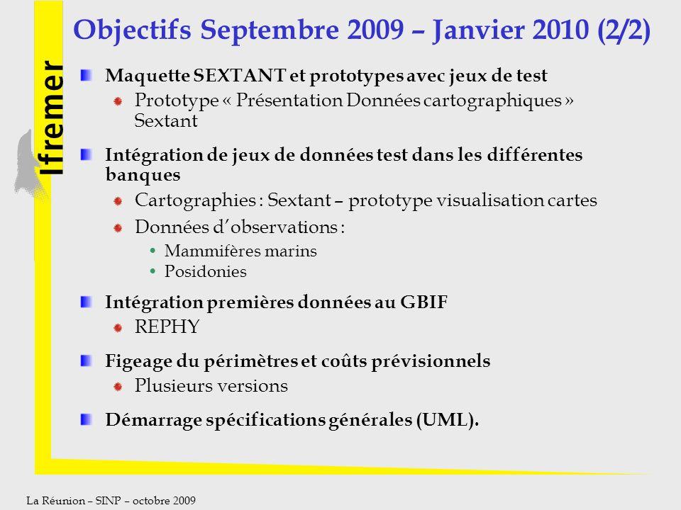 La Réunion – SINP – octobre 2009 Objectifs Septembre 2009 – Janvier 2010 (2/2) Maquette SEXTANT et prototypes avec jeux de test Prototype « Présentati