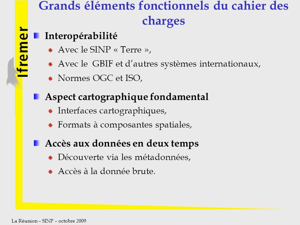 La Réunion – SINP – octobre 2009 Grands éléments fonctionnels du cahier des charges Interopérabilité Avec le SINP « Terre », Avec le GBIF et dautres s