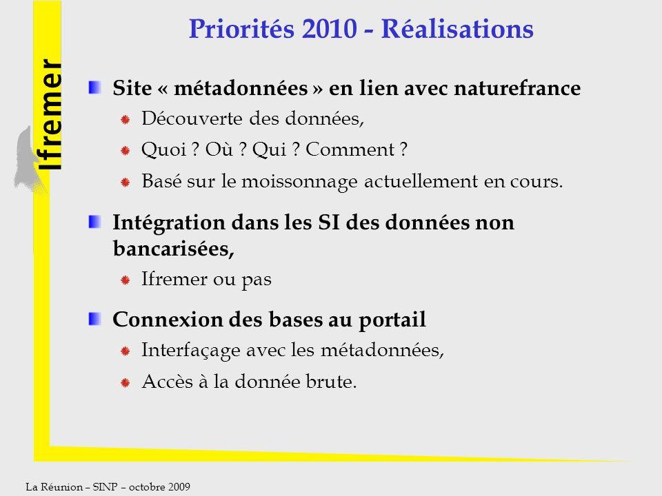 La Réunion – SINP – octobre 2009 Priorités 2010 - Réalisations Site « métadonnées » en lien avec naturefrance Découverte des données, Quoi ? Où ? Qui