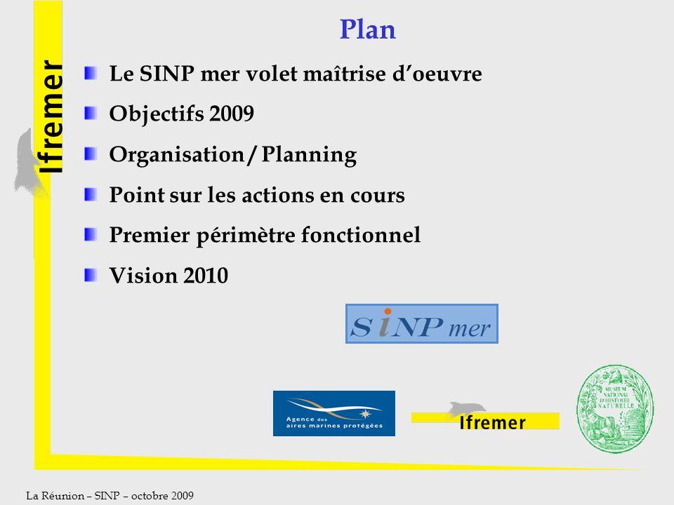 La Réunion – SINP – octobre 2009 Plan Le SINP mer volet maîtrise doeuvre Objectifs 2009 Organisation / Planning Point sur les actions en cours Premier