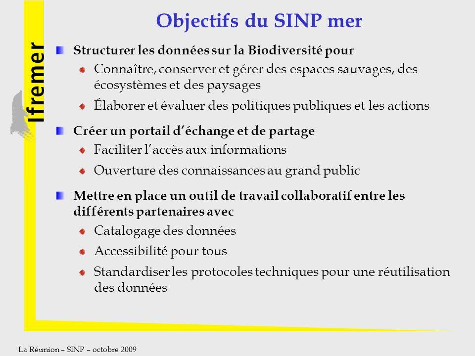 La Réunion – SINP – octobre 2009 Objectifs du SINP mer Structurer les données sur la Biodiversité pour Connaître, conserver et gérer des espaces sauva