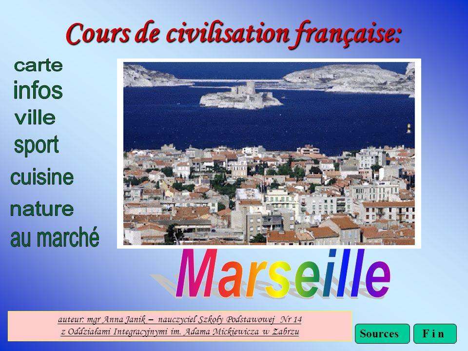 Cours de civilisation française: F i nSources auteur: mgr Anna Janik – nauczyciel Szkoły Podstawowej Nr 14 z Oddziałami Integracyjnymi im.