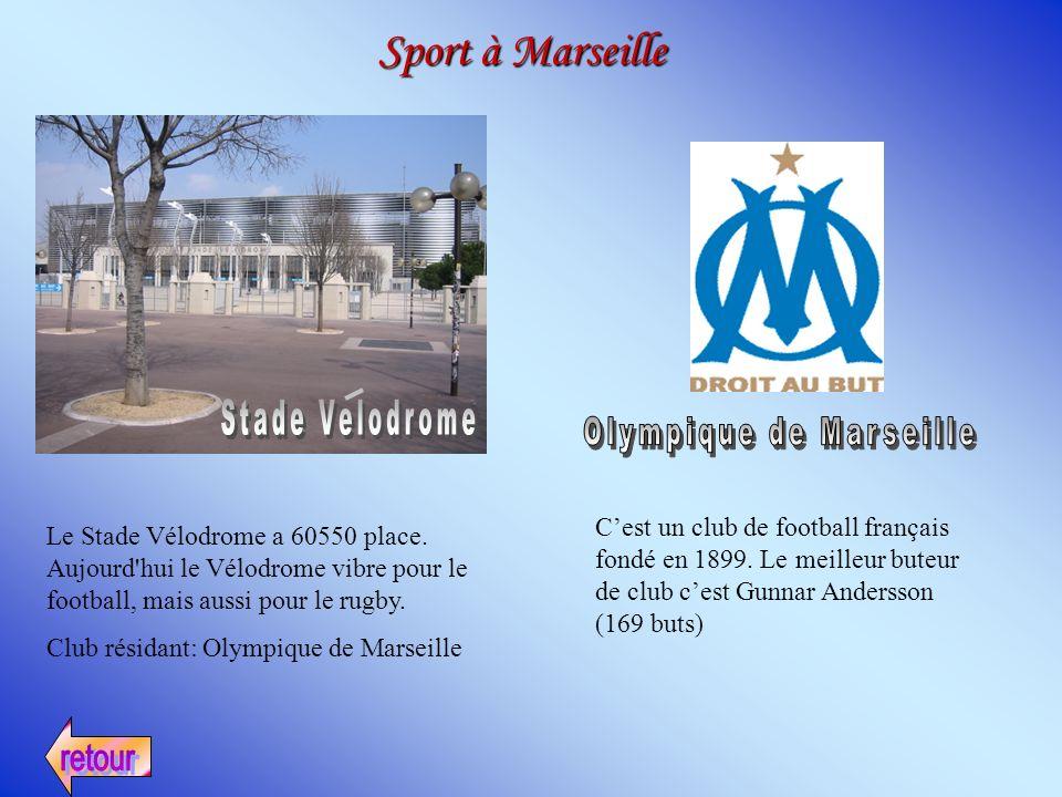 Sport à Marseille Le Stade Vélodrome a 60550 place. Aujourd'hui le Vélodrome vibre pour le football, mais aussi pour le rugby. Club résidant: Olympiqu