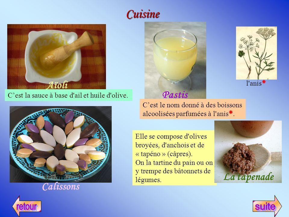 Cuisine Aïoli Cest la sauce à base d'ail et huile d'olive. Pastis Cest le nom donné à des boissons alcoolisées parfumées à l'anis. l'anis Elle se comp