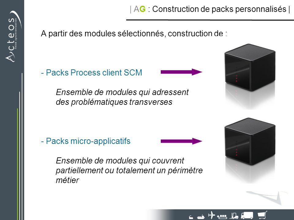 A partir des modules sélectionnés, construction de : - Packs Process client SCM Ensemble de modules qui adressent des problématiques transverses - Pac