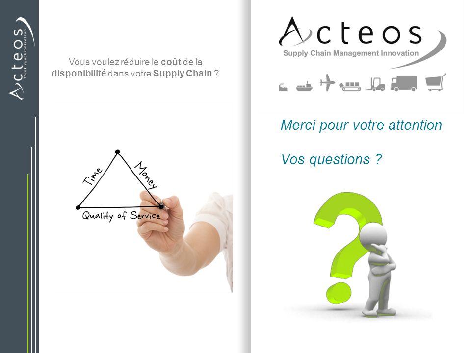 Merci pour votre attention Vos questions ? Vous voulez réduire le coût de la disponibilité dans votre Supply Chain ?