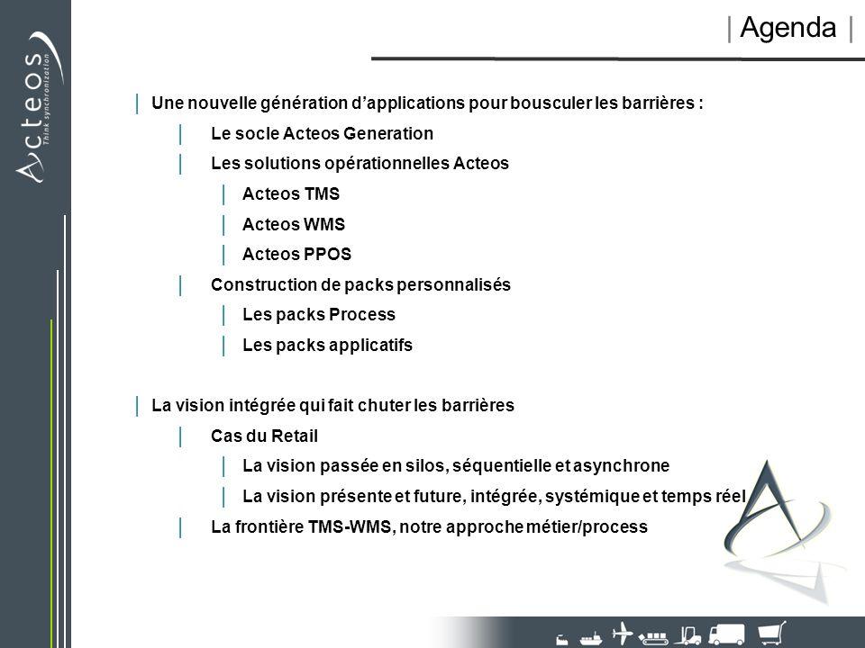   Agenda     Une nouvelle génération dapplications pour bousculer les barrières :   Le socle Acteos Generation   Les solutions opérationnelles Acteos