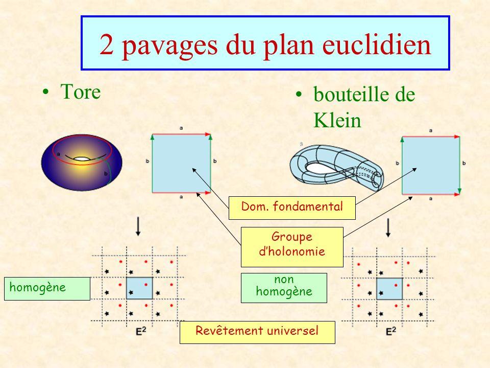 2 pavages du plan euclidien Tore bouteille de Klein Revêtement universel Dom. fondamental homogène non homogène Groupe dholonomie