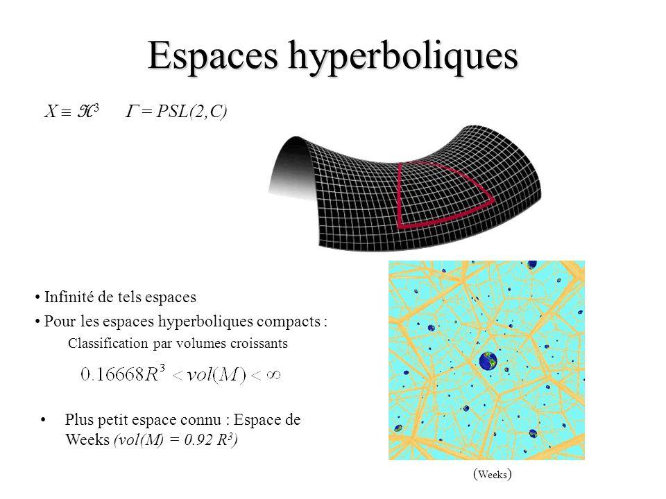 Espaces hyperboliques X H 3 = PSL(2,C) Infinité de tels espaces Pour les espaces hyperboliques compacts : Classification par volumes croissants ( Week