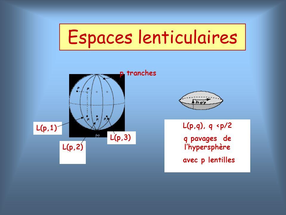 Espaces lenticulaires p tranches L(p,1) L(p,q), q <p/2 q pavages de lhypersphère avec p lentilles L(p,2) L(p,3)