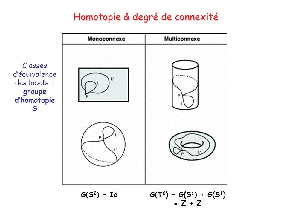 Homotopie & degré de connexité Genre 0 Classes déquivalence des lacets = groupe dhomotopie G G(S 2 ) = IdG(T 2 ) = G(S 1 ) + G(S 1 ) = Z + Z