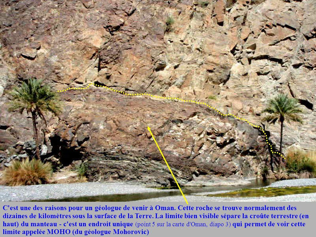 C'est une des raisons pour un géologue de venir à Oman. Cette roche se trouve normalement des dizaines de kilomètres sous la surface de la Terre. La l