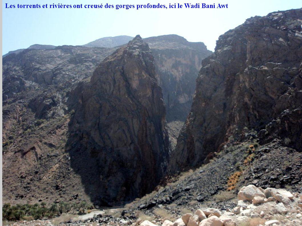 Les torrents et rivières ont creusé des gorges profondes, ici le Wadi Bani Awt