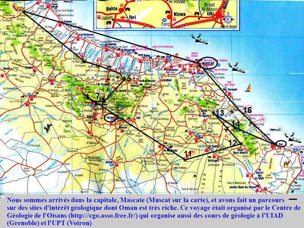 Nous sommes arrivés dans la capitale, Mascate (Muscat sur la carte), et avons fait un parcours sur des sites d'intérêt géologique dont Oman est très r