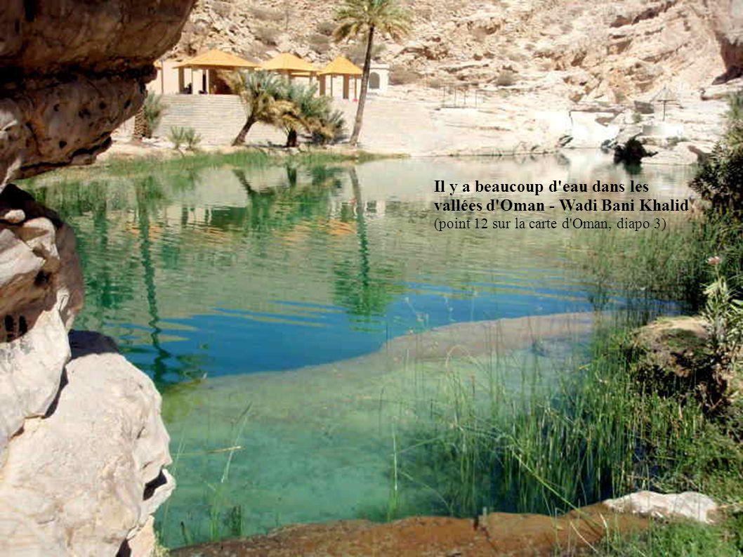Il y a beaucoup d'eau dans les vallées d'Oman - Wadi Bani Khalid (point 12 sur la carte d'Oman, diapo 3)